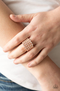 copper rhinestone paparazzi jewelry ring