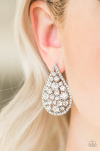 Paparazzi Jewelry & Accessories - REIGN-Storm - White Earrings. Bling By Titia Boutique