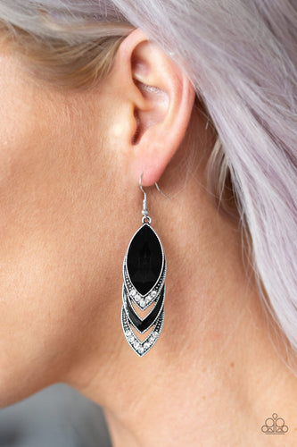 Picture of High-End Highness - Black And White Rhinestone Paparazzi Jewelry Earrings paparazzi accessories jewelry Earrings