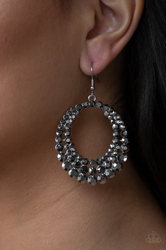 silver hematite rhinestone life of the party paparazzi earrings