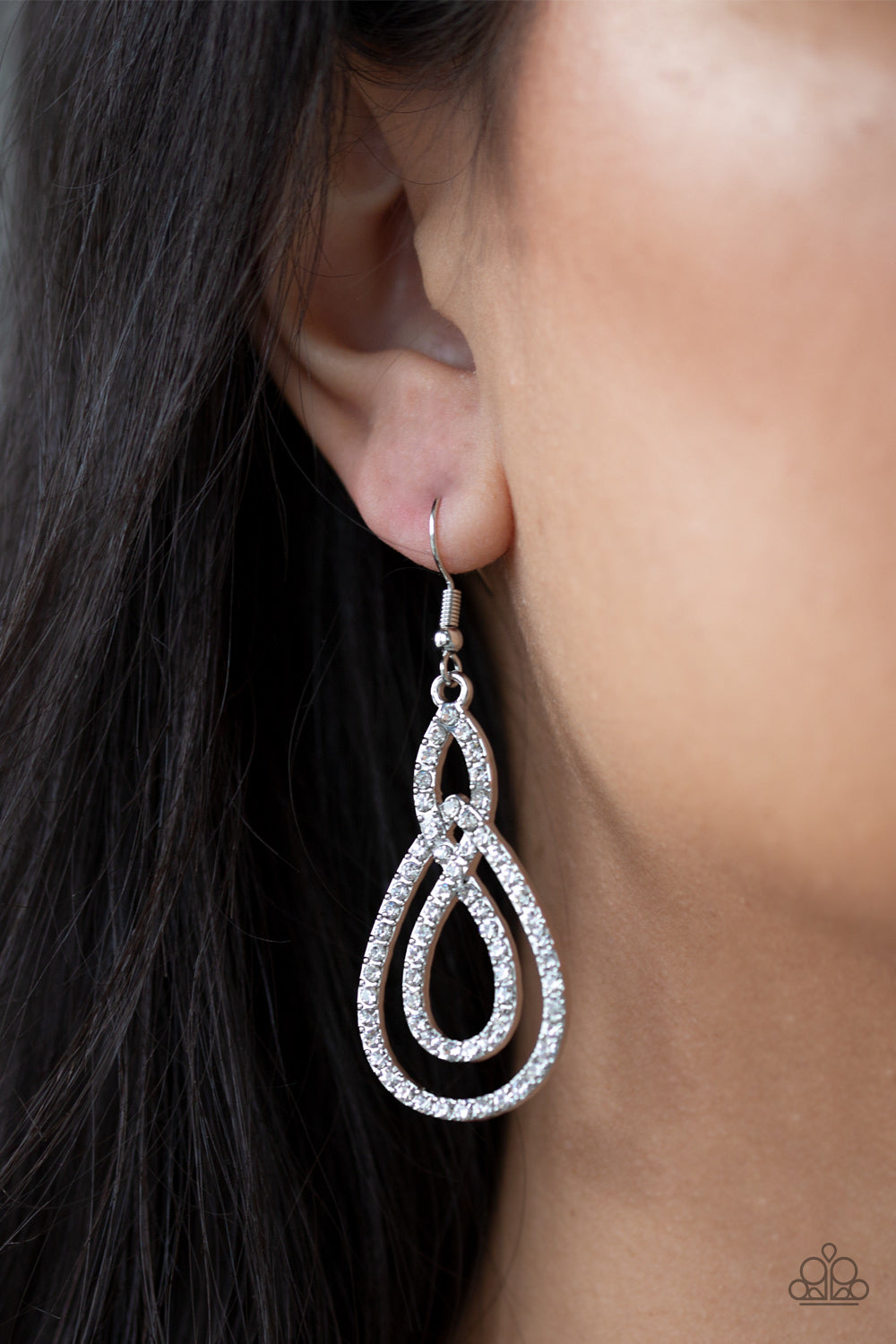 Sassy Sophistication - Silver Rhinestones Loop Paparazzi Jewelry Earrings paparazzi accessories jewelry Earrings