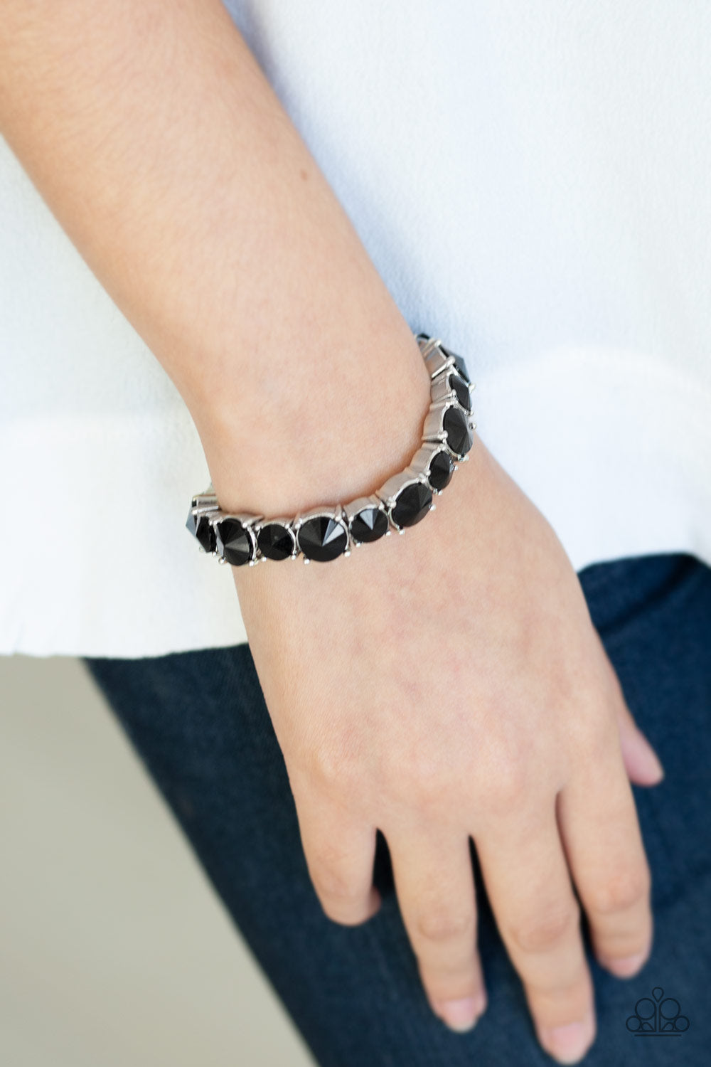 Paparazzi Jewelry & Accessories Born To Bedazzle Black Rhinestone Bracelet. Bling By Titia