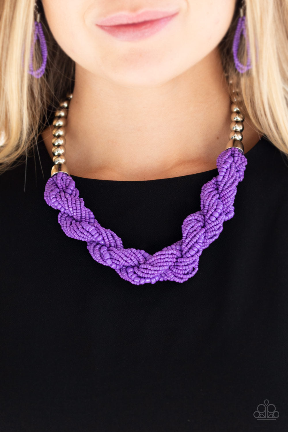 Paparazzi Jewelry & Accessories - Savannah Surfin - Purple Seed Bead Necklace. Bling By Titia Boutique