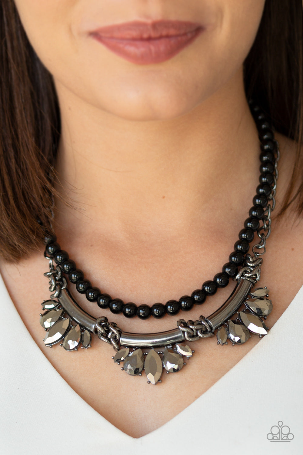 Bow Before The Queen - Black Beads Hematite Rhinestone Paparazzi Jewelry Necklace paparazzi accessories jewelry neckace