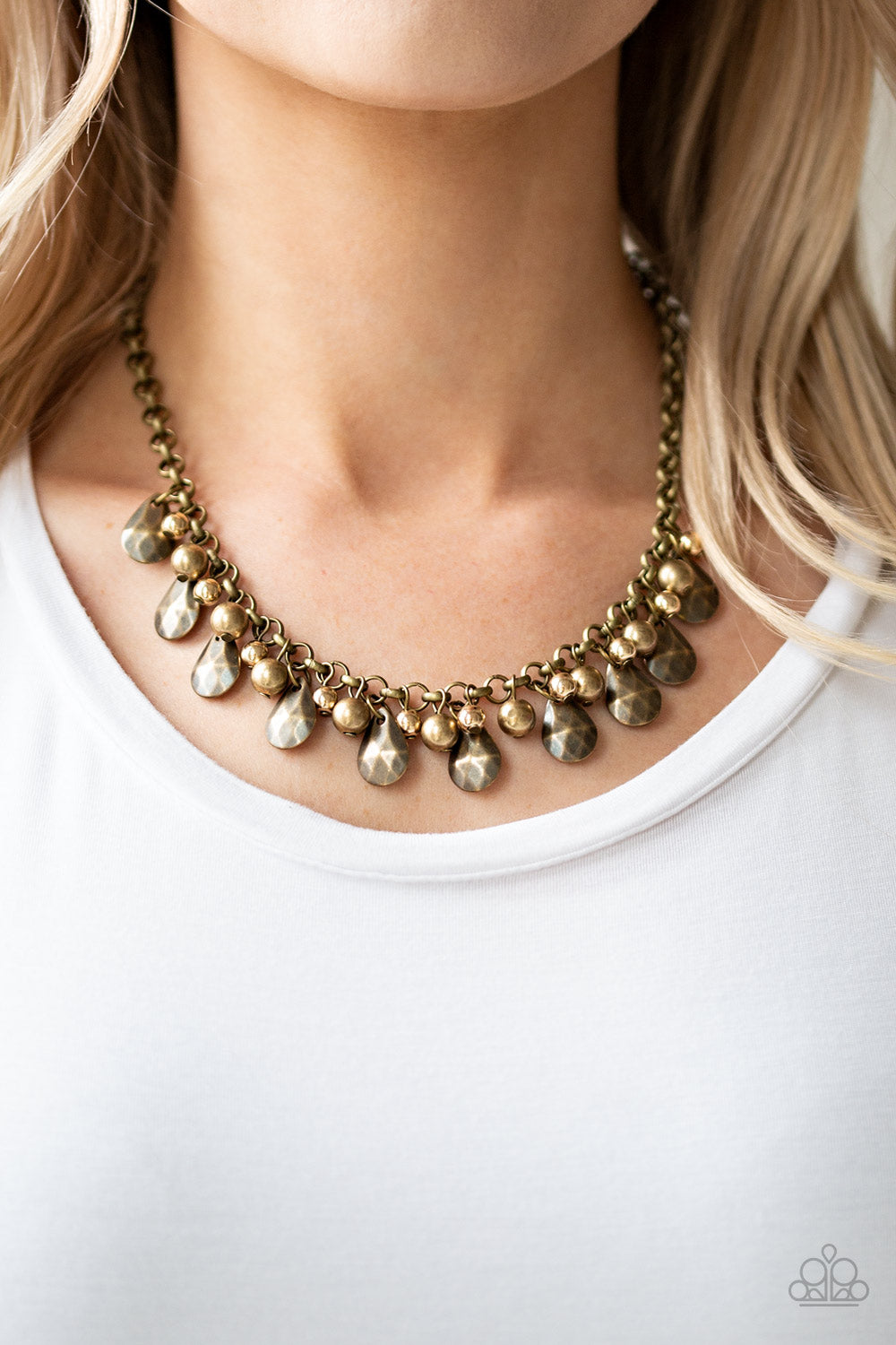 Paparazzi Jewelry & Accessories - Stage Stunner - Brass Bead Necklace. Bling By Titia Boutique