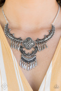 Rogue Vogue - Silver Tribal Paparazzi Jewelry Necklace paparazzi accessories jewelry Necklaces