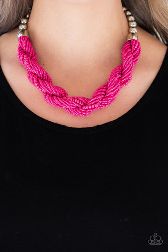 Paparazzi Jewelry & Accessories - Savannah Surfin - Pink Seed Bead Necklace. Bling By Titia Boutique