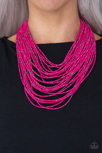 Paparazzi Jewelry & Accessories - Rio Rainforest - Pink Seed Bead Necklace. Bling By Titia Boutique