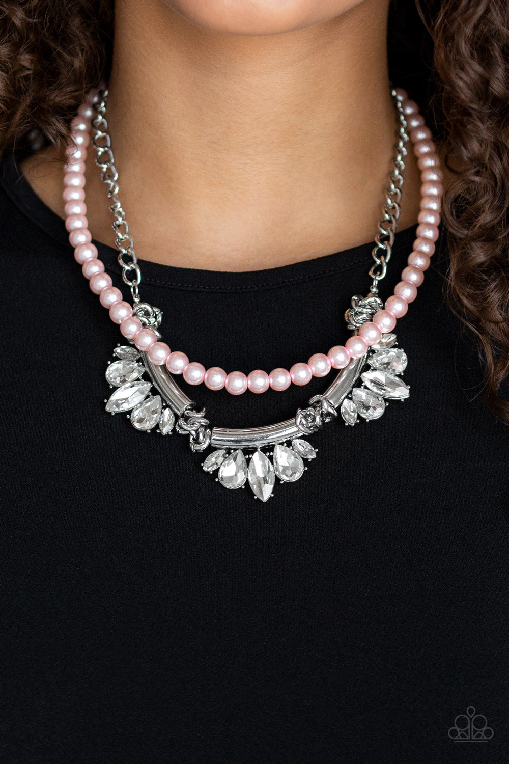 Bow Before The Queen - Pink Pearl White Rhinestone Life Of The Party Paparazzi Jewelry Necklace paparazzi accessories jewelry Necklace