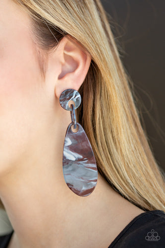 A HAUTE Commodity - Brown Acrylic Faux-Marble Paparazzi Jewelry Earrings paparazzi accessories jewelry Earrings