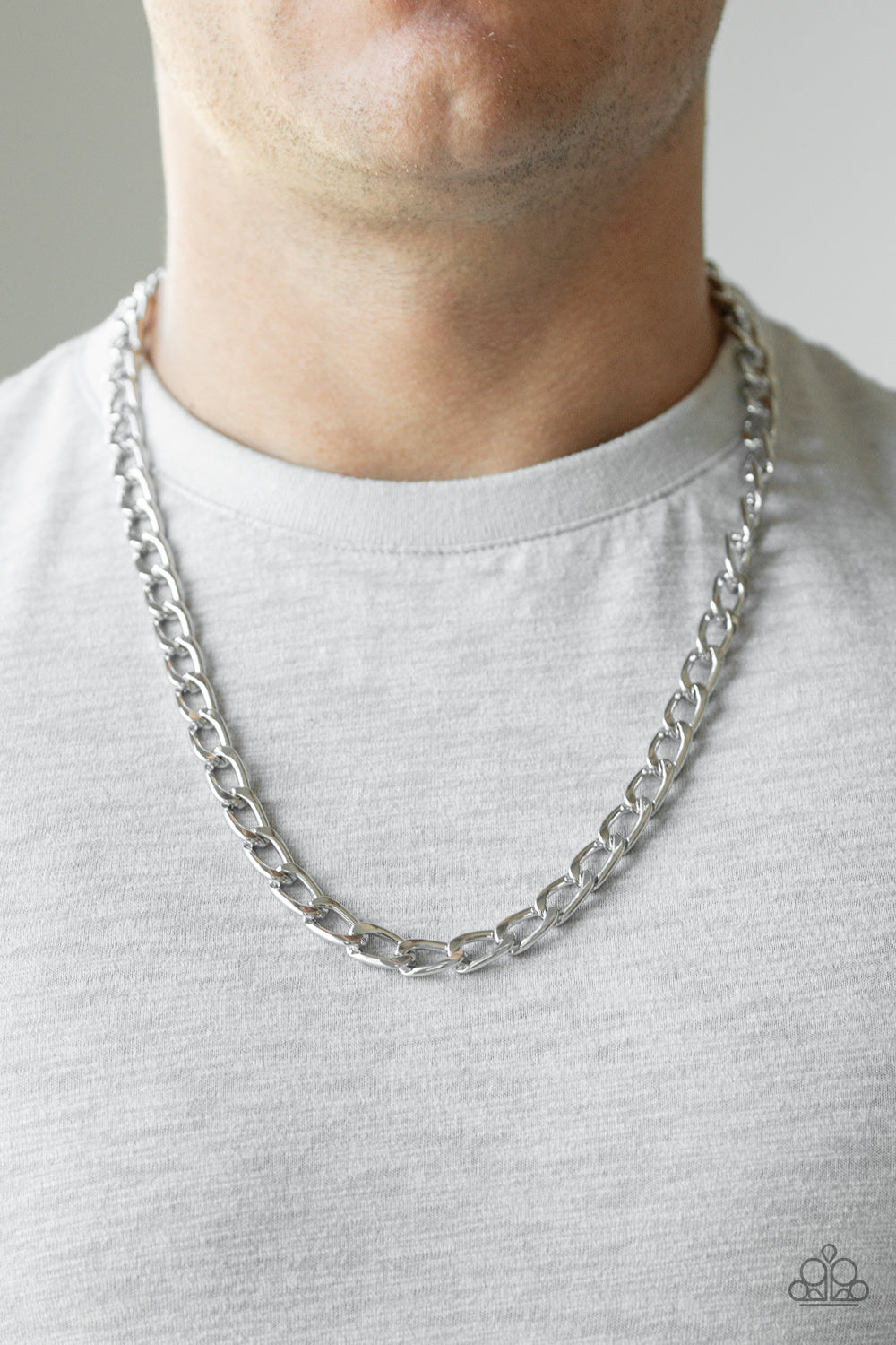 Big Win - Silver Beveled Cable Chain Paparazzi Jewelry Necklace paparazzi accessories jewelry Necklace Men
