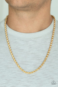 Double Dribble - Gold Rope Chain Paparazzi Jewelry Necklace paparazzi accessories jewelry Necklace Men