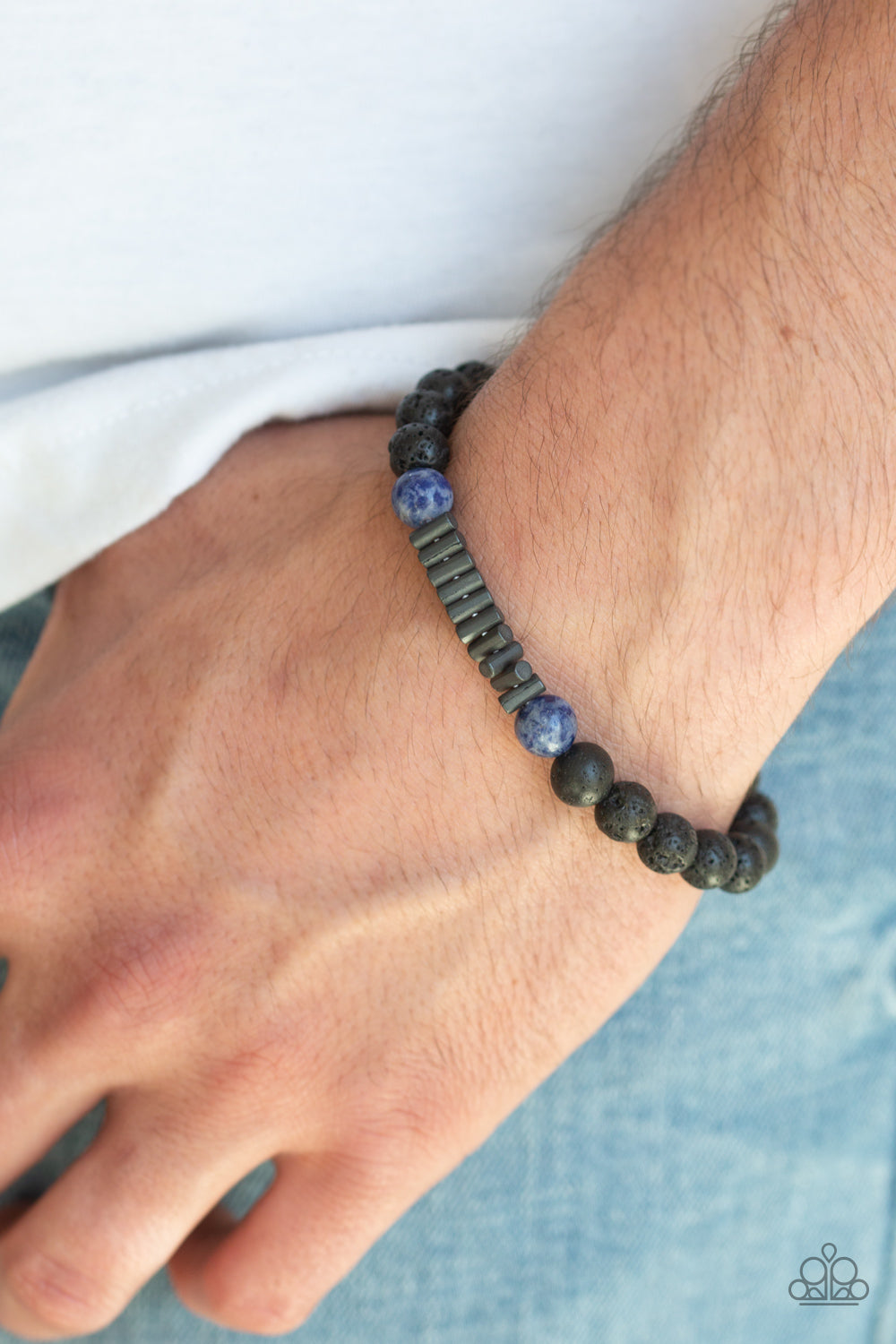 Paparazzi Accessories - Courage - Blue Stone Black Lava Beads Bracelet. Bling By Titia