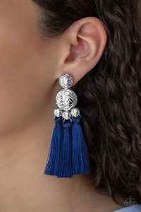 Taj Mahal Tourist - Blue Tassel Paparazzi Jewelry Earrings paparazzi accessories jewelry Earrings