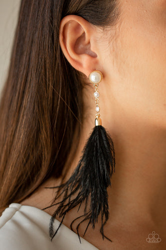 Paparazzi Jewelry & Accessories Vegas Vixen black feather and pearl earrings. Bling By Titia