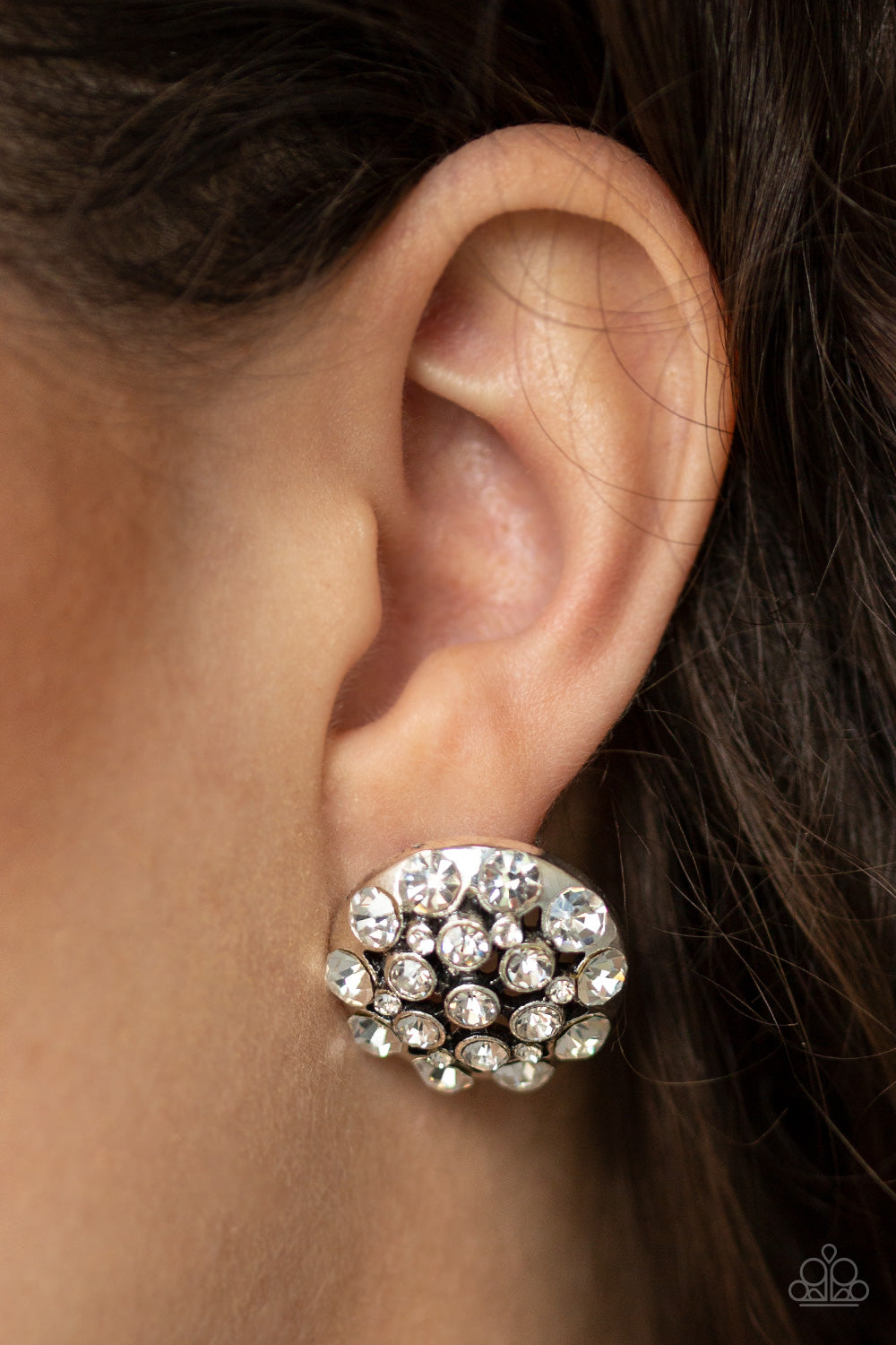 Paparazzi Accessories - Hollywood Drama - White Earrings