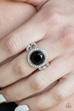 Load image into Gallery viewer, Black Gem White Rhinestones Paparazzi Jewelry Ring