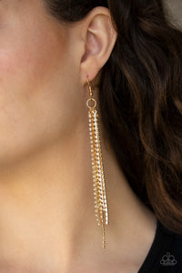 Paparazzi Accessories - Center Stage Status - Gold Rhinestone Earrings