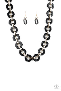Fashionista Fever - Black Acrylic Paparazzi Jewelry Necklace paparazzi accessories jewelry Necklace