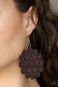 Brown Wooden Floral Paparazzi Jewelry Earrings