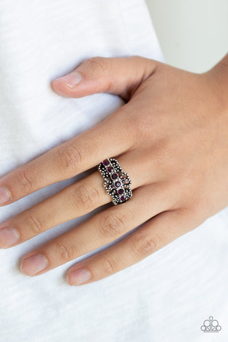 GLOW Your Mind - Purple Rhinestone Paparazzi Jewelry Ring paparazzi accessories jewelry Ring