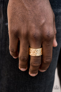 Self-Made Man - Gold Band Paparazzi Jewelry Ring paparazzi accessories jewelry Men Ring