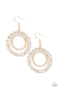 Spotlight Shout Out - Gold Hoop Rhinestone Paparazzi Jewelry Earrings paparazzi accessories jewelry Earrings