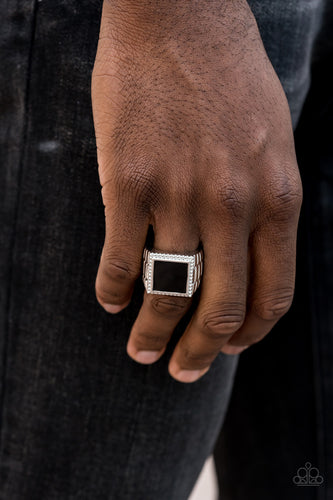 The Titan - Black Square Paparazzi Jewelry Ring paparazzi accessories jewelry Men Ring
