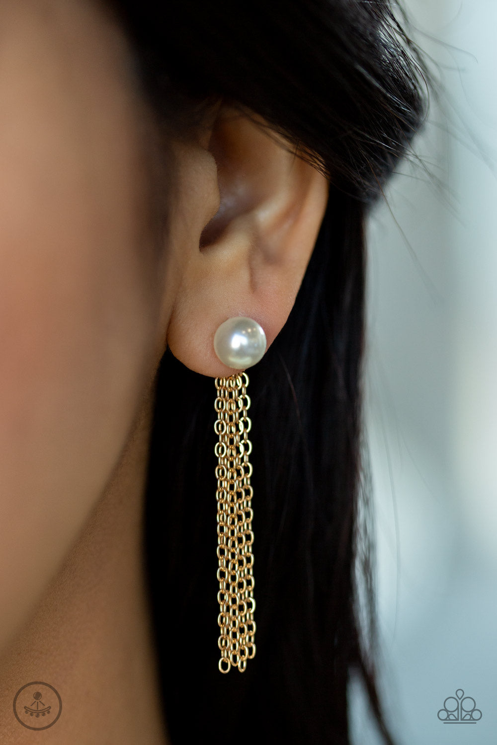 Rebel Refinement - Gold Chain Pearl Double-Sided Post Paparazzi Jewelry Earrings paparazzi accessories jewelry Earrings