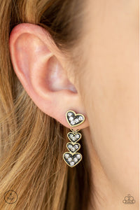 Paparazzi Accessories - Heartthrob Twinkle - Brass Earrings