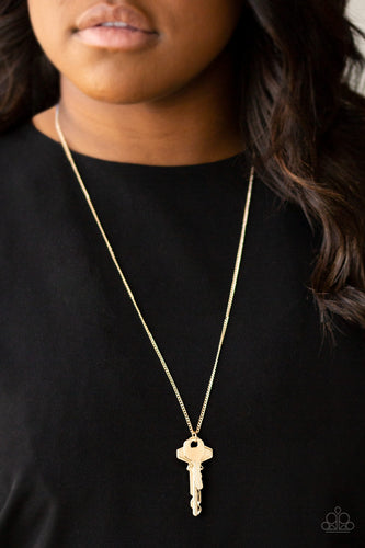 The Keynoter - Gold Keys paparazzi jewelry necklace