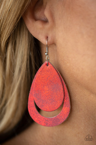 buy Fiery Firework - Red Leather Teardrop Paparazzi Jewelry Earrings onlineEarringsaffordable, earrings, leather, metallic, paparazzi, paparazzi jewelry, red, summer, summery, teardrop, teardrops, unique