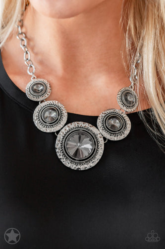 Paparazzi Jewelry Image Global Glamour Hematite Rhinestone Blockbuster Necklace