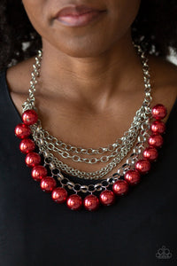 One-Way WALL STREET - Red Pearls Paparazzi Jewelry Necklace paparazzi accessories jewelry neckace