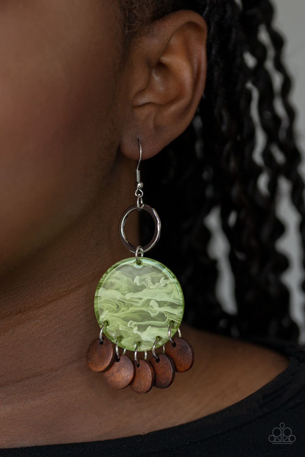 Paparazzi Jewelry & Accessories - Beach Waves - Green Earrings. Bling By Titia Boutique