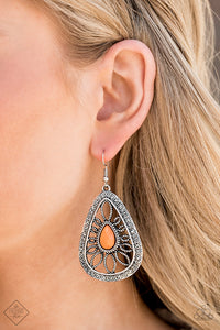 Paparazzi Jewelry & Accessories - Glimpses of Malibu Silver and Orange set - June 2020. Bling By Titia Boutique
