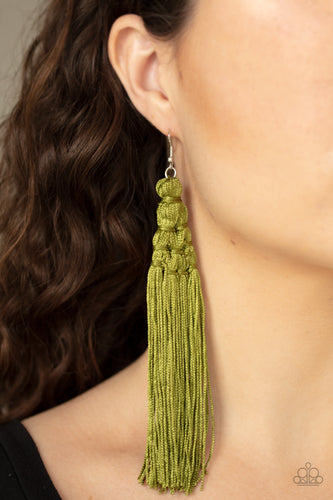 Paparazzi Jewelry & Accessories - Magic Carpet Ride - Green Tassel Earrings. Bling By Titia Boutique
