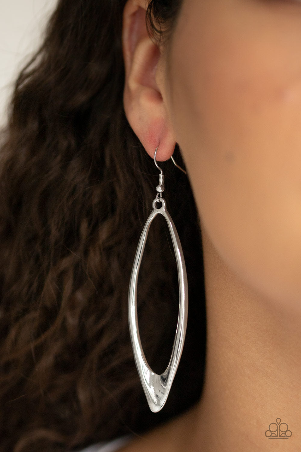 Paparazzi Jewelry & Accessories - Positively Progressive - Silver oval drip Earrings. Bling By Titia