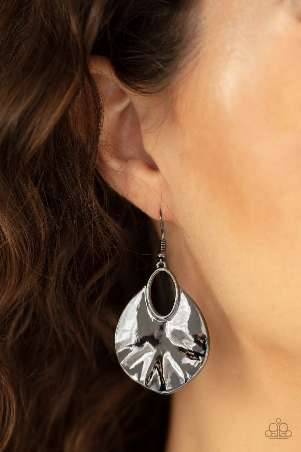 Paparazzi Jewelry & Accessories - Ruffled Refinery - Black/Gunmetal Earrings. Bling By Titia Boutique