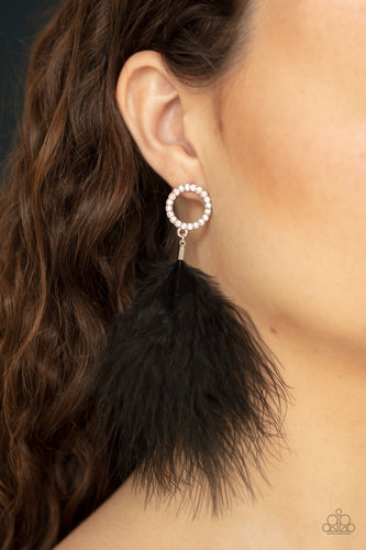 Paparazzi Jewelry & Accessories - BOA Down - Black Earrings. Bling By Titia Boutique