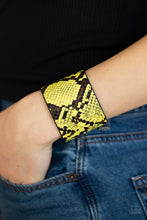 Load image into Gallery viewer, Paparazzi Jewelry & Accessories - The Rest Is HISS-tory - Yellow & Black Python Print Bracelet. Bling By Titia