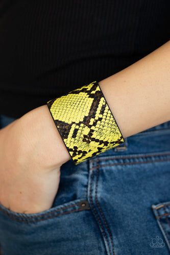 Paparazzi Jewelry & Accessories - The Rest Is HISS-tory - Yellow & Black Python Print Bracelet. Bling By Titia