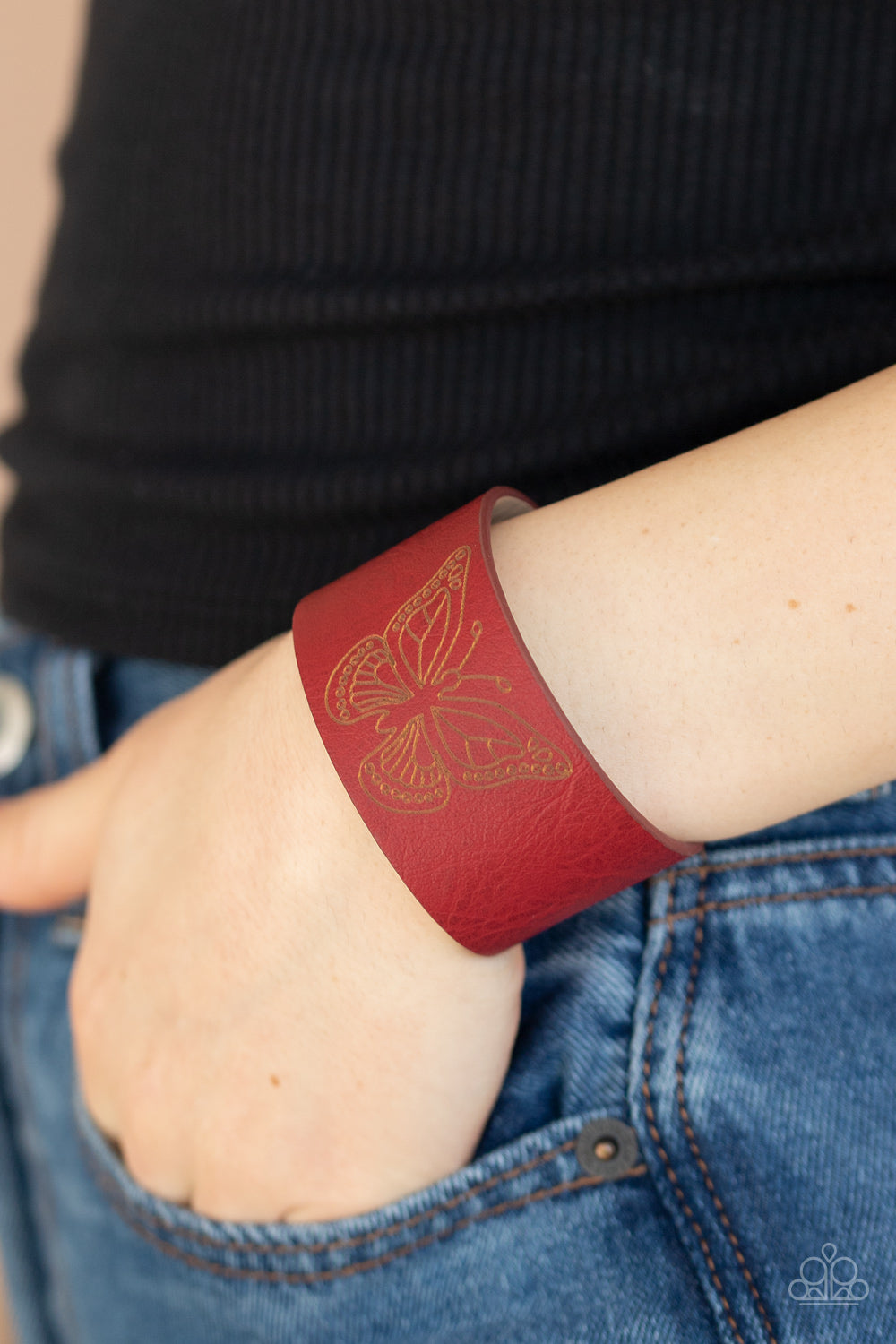 Paparazzi Jewelry & Accessories - Flirty Flutter - Red Bracelet. Bling By Titia Boutique
