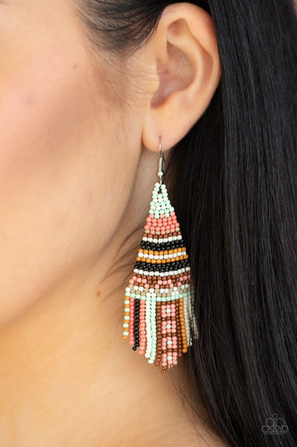 Paparazzi Jewelry Accessories - Beaded Bohemian - Green, Coral, White, Green, Brown, Black Seed Bead Earrings. Bling By Titia Boutique