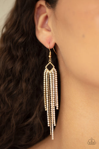Paparazzi Jewelry and Accessories - Singing in the REIGN - Gold Rhinestone Earrings. Bling By Titia