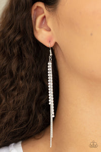 Paparazzi Jewelry & Accessories REIGN Check Silver Rhinestone dainty silver tassel earrings. Bling By Titia