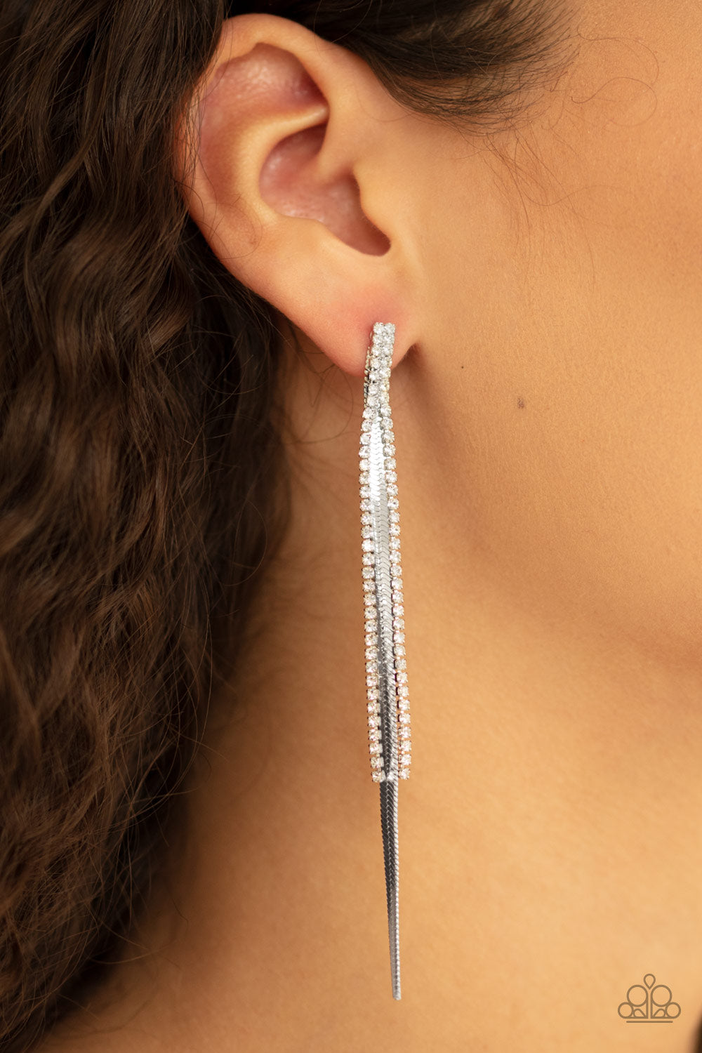 Paparazzi Jewelry & Accessories Flavor of the sleek silver rhinestones earrings. Bling By Titia