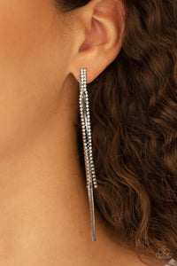Paparazzi Jewelry & Accessories Flavor of the SLEEK black and white rhinestone dangle earrings. Bling By Titia