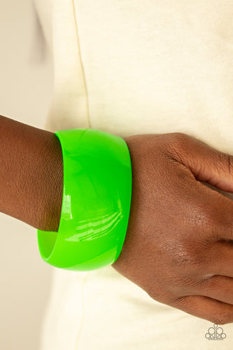 Paparazzi Jewelry & Accessories - Fluent in Flamboyance - Neon Green Acrylic Cuff Bracelet. Bling By Titia Boutique