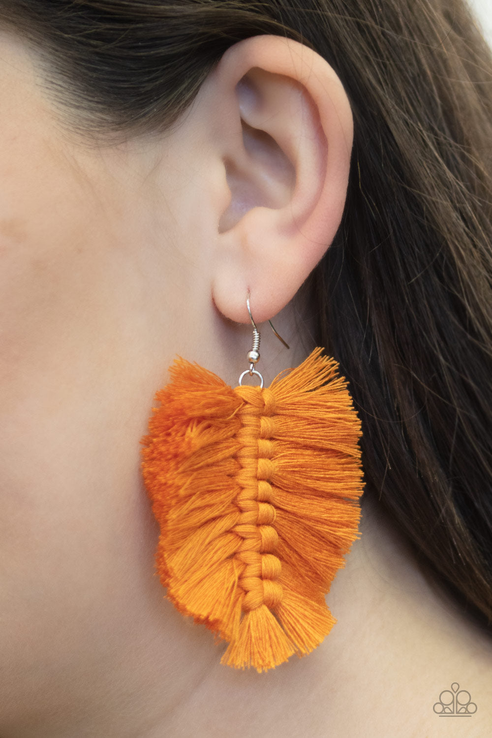 Paparazzi Jewelry & Accessories - Knotted Native - Orange Fringe Earrings. Bling By Titia Boutique